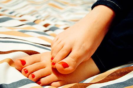 fødder, tæer, kvinde, kvinde, pedicure, barfodet, tæppe