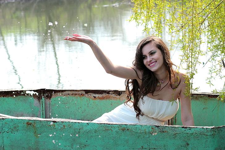 jente, båt, vann, skjønnhet