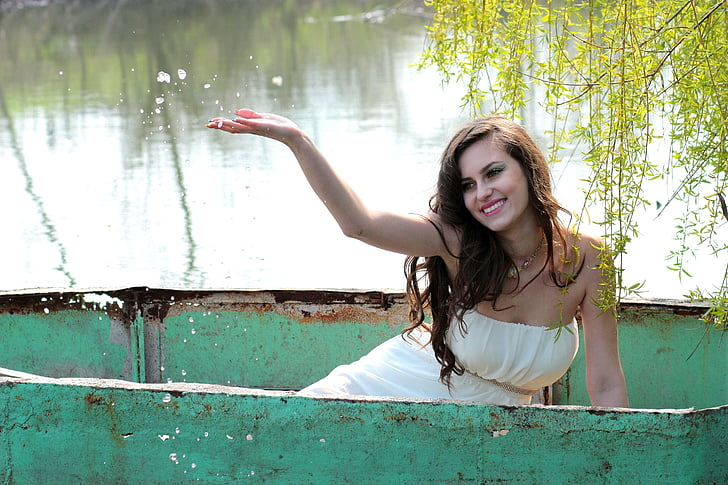 dekle, čoln, vode, lepota