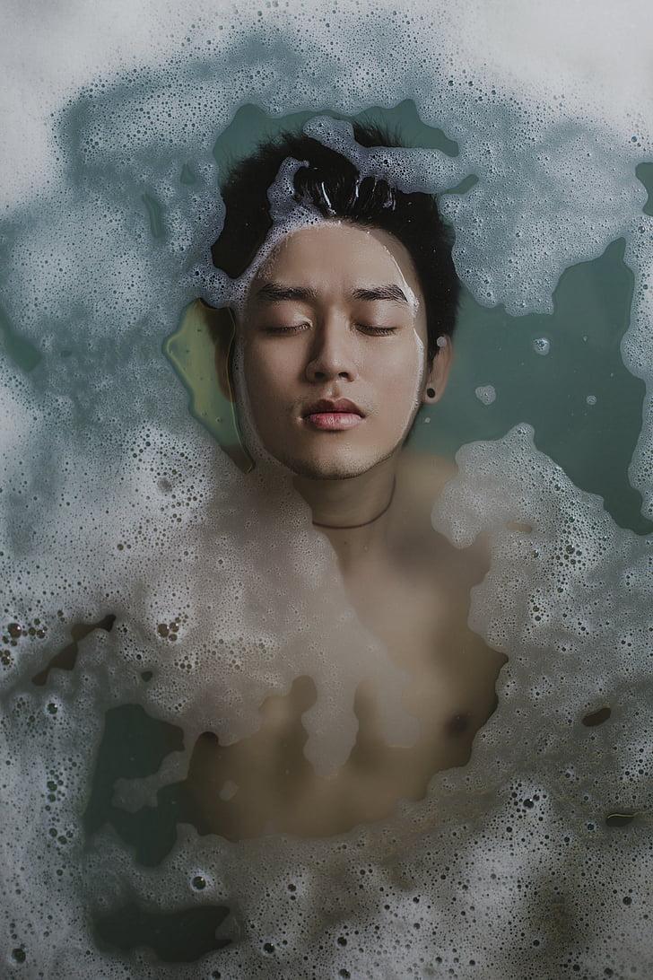 badning, person, vand, skum, sæbe, mand, Dreng