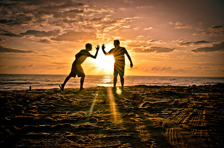 friends, partneriai, Sol, paplūdimys, Draugystė, siluetas, Saulėlydis