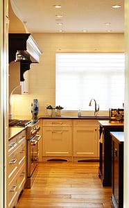 virtuvė, skaitiklis, viryklė, krosnelė, interjeras, Pagrindinis puslapis, šiuolaikinės