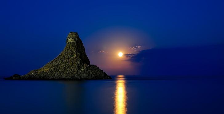 Italija, Sicilija, jūra, vandenyno, Atspindžiai, HDR, Saulėlydis