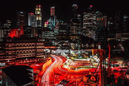 Singapur, ciutat, urbà, horitzó, arquitectura, gratacels, edificis