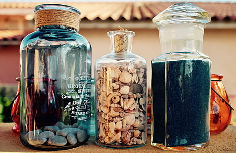 kaleng, kaca, kaca berwarna, vas, Italia, warna, kuno
