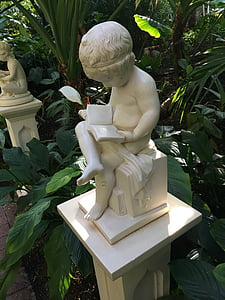 read, book, sitting, child reading, statue, garden, reading book