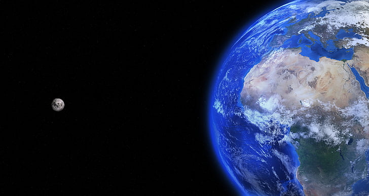 zemes, pasaulē, mēness, pasaulē, planētas, zemes pasaulē, zila
