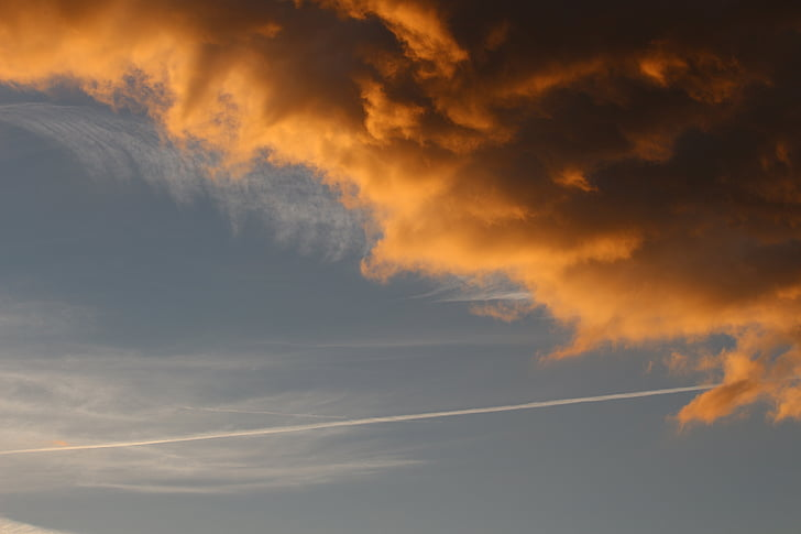 облака, abendstimmung, затуманено небо, небо, свет, Закат, lichtspiel