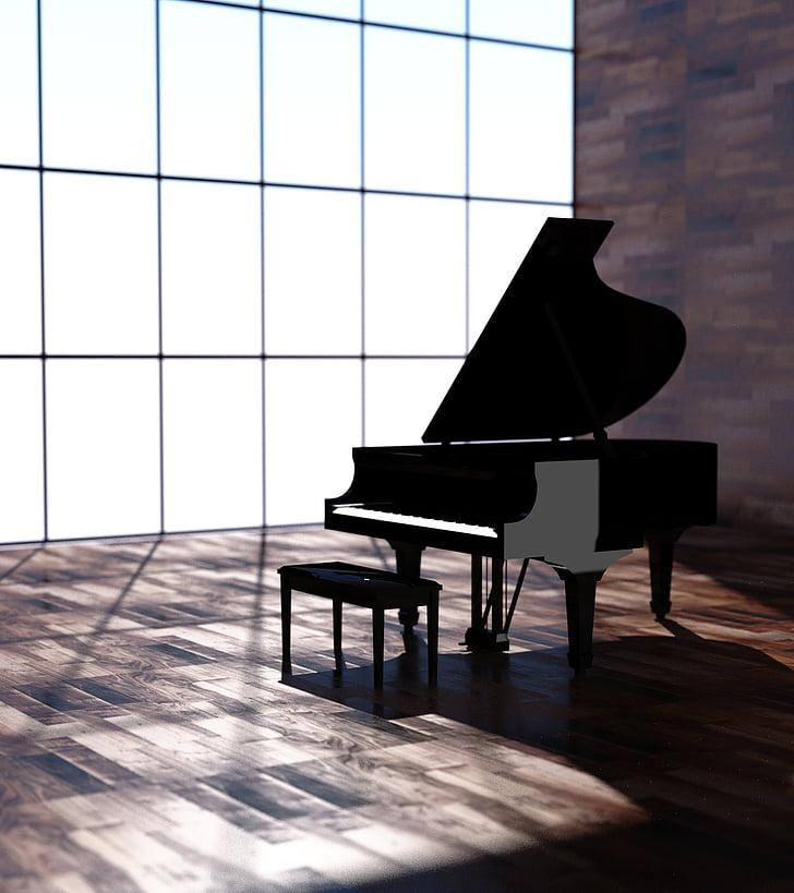 instrumentet, piano, svart, musikk, illustrasjon, musikkinstrument, flygel