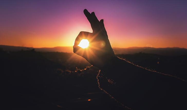 hand, makro, siluett, Sky, soluppgång, solnedgång, naturen