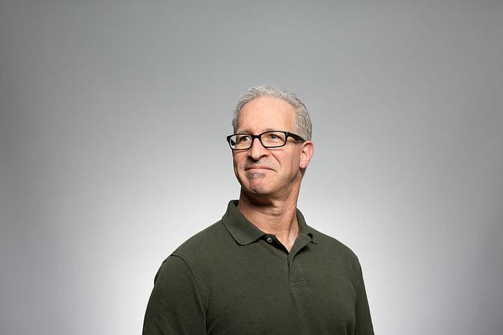 man, wearing, black, framed, eyeglasses, gray, polo