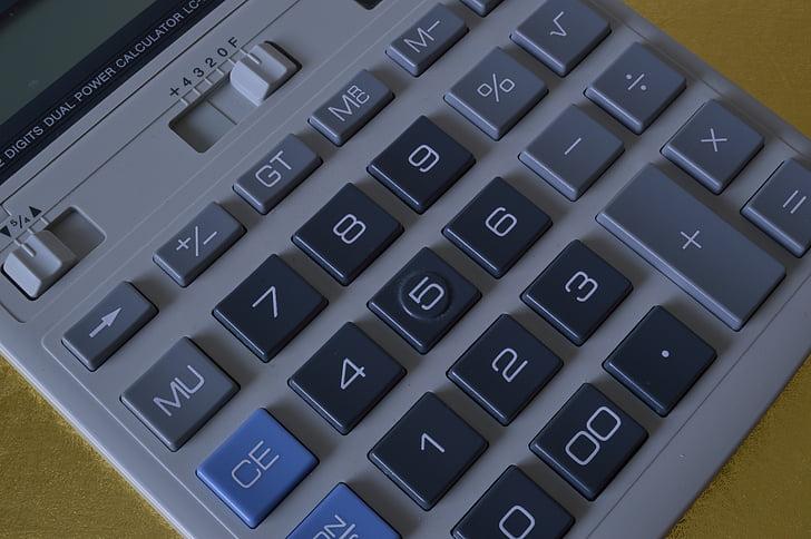 skaičiuoklė, skaičiavimo, klaviatūra, finansų, matematikos, apskaitos, finansų