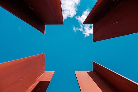 bjelker, arkitektur, stål, Metal, himmelen, skyer, blå