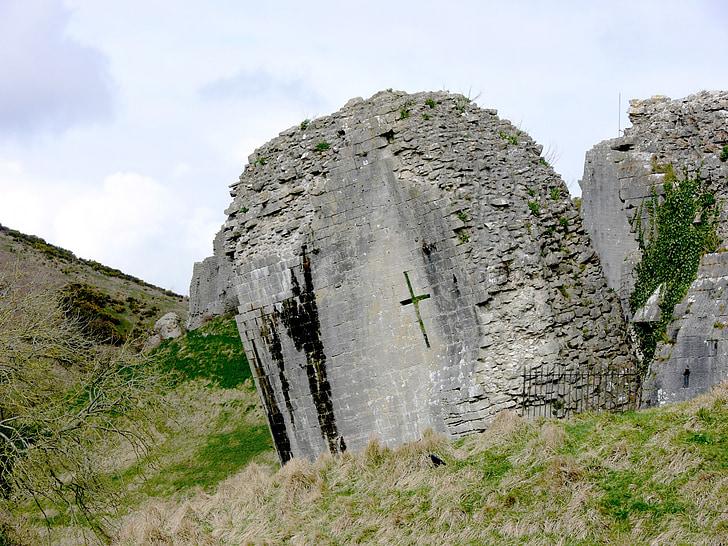 ruins, corfe, corfe castle, castle, stone, tower, castle tower