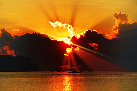 posta de sol, platja, Mar, posta de sol de platja, oceà, cel, Alba