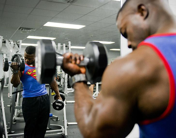 trenažieris, svars, apmācības, stresa, muskuļu, sportists, trenažieru zāle