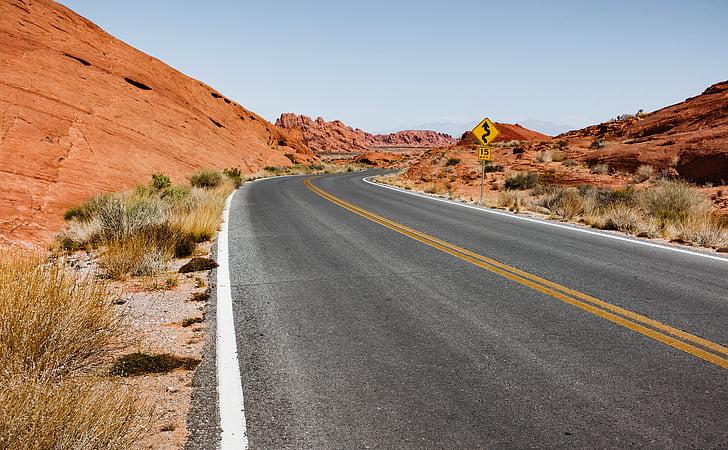 sušnim, asfalt, pust, pustinja, suha, autocesta, krajolik