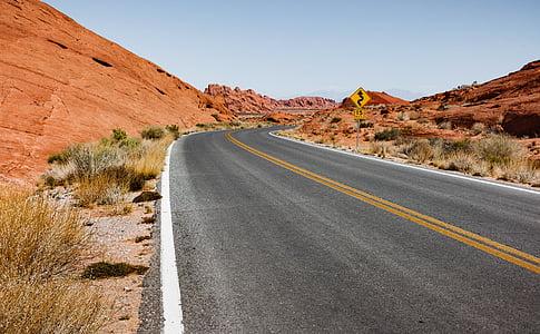 aride, asfalto, sterile, deserto, secco, autostrada, paesaggio