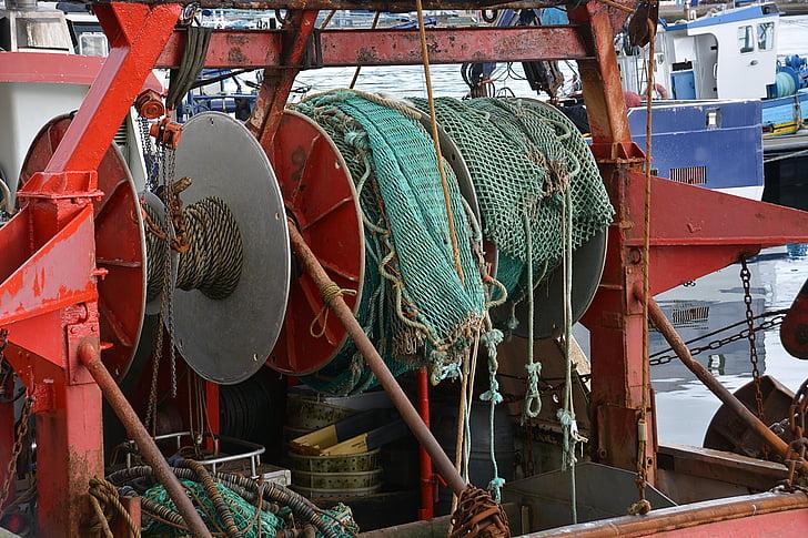netting, fishing, colors, sea, fisherman, port, marin