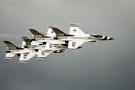 air show, thunderbirds, formation, military, aircraft, jets, plane