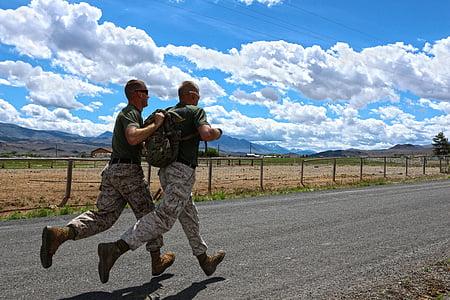 men, army, training, running, jogging, military, teamwork