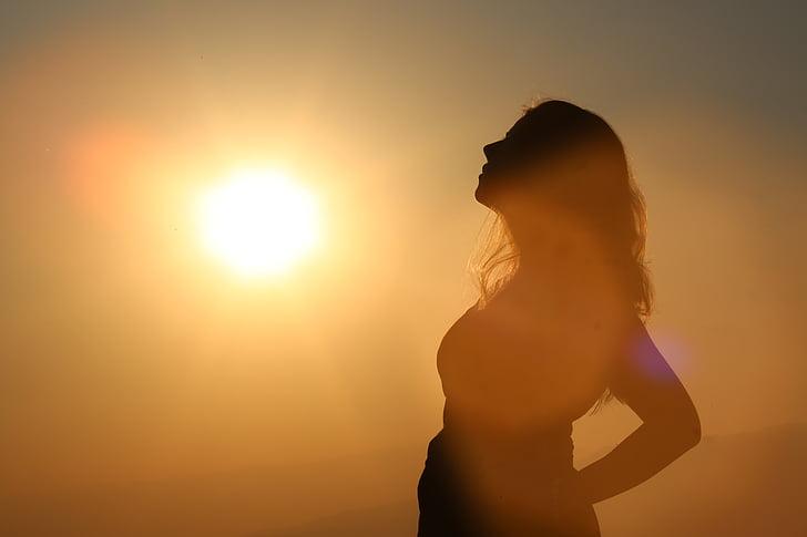 kvinner, kvinne, solen, ferie, ansikt, gravid, Baby