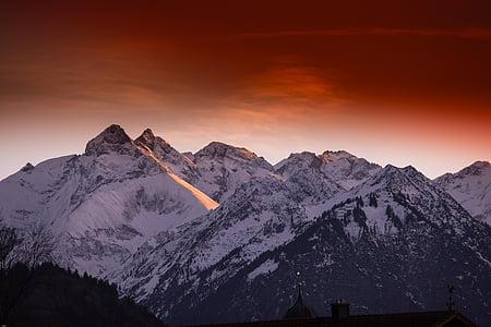 Allgäu, alpejska, góry, panoramy, krajobraz, Oberstdorf, niebo