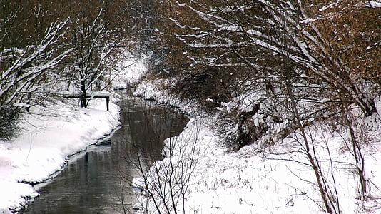 pozimi, reka, narave, zasneženih, sneg, drevo, hladno - Temperature