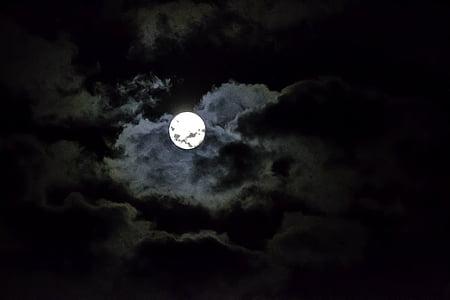 Lluna, cel, nit, núvols, ambient, estat d'ànim, llum de lluna