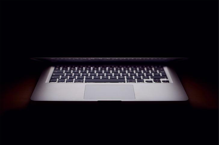 sivá, laptop, počítač, Apple, MacBook, tiene, tmavé