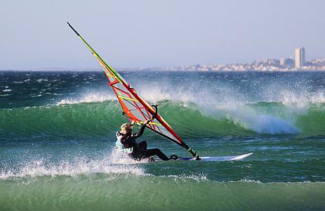 surfeur, planche de surf, vague, pulvérisation, plage, mer, océan