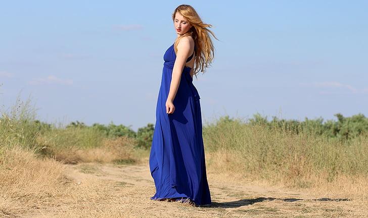 djevojka, haljina, plavuša, plava, ljepota