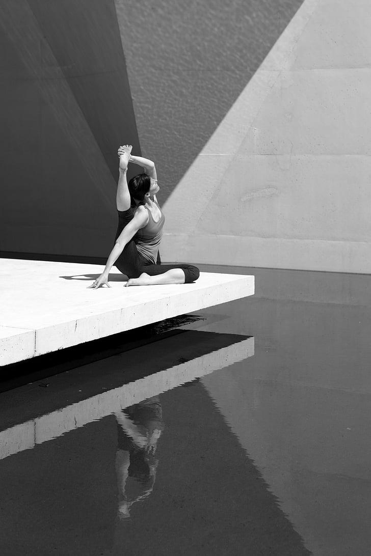 joga, meitene, sieviete, mierīgu, Meditācija, rada, jogas sieviete