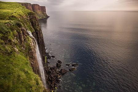 isle of skye, waterfall, sea, scotland, skye, green, sunrise