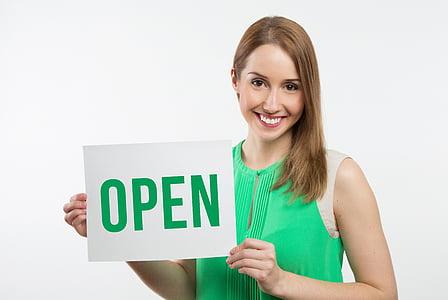 negoci, noia, verd, missatge, model de, obrir, Retrat