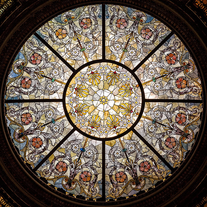 stained glass, window, glass, ceiling, stained, stained glass window, light
