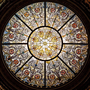 vetro macchiato, finestra, vetro, soffitto, macchiato, finestra di vetro macchiata, luce