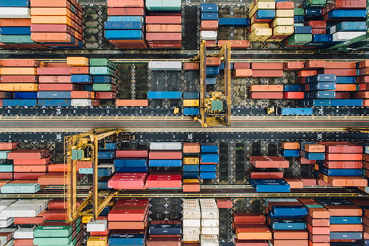 contenidor, van, exportació, viatges, càrrega, Moll, transport