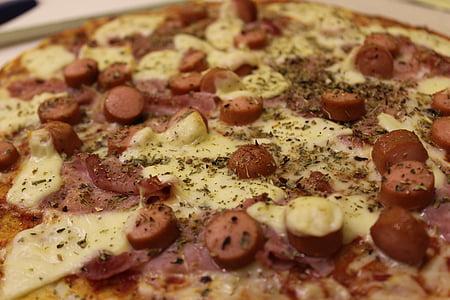 pizzes, condiment, salsitxa, formatge, mozzarella de, pernil, tomàquet