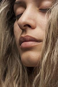 modela, lice, portret, za usne, mlada žena, nevinost, moda pucati