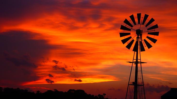 bầu trời màu đỏ, Mill, Trang trại trên bầu trời, hoàng hôn, bầu trời, Chạng vạng