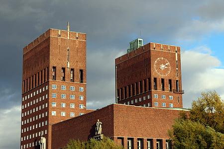 Oslo, Norge, staden, Stadshuset, Scandinavia, resor, byggnad