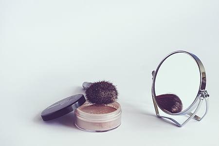 kosmetikk, pulver, kosmetisk brush, bakspeilet, sminke, skjønnhet