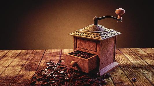 mlin za kavu, kava, prah, kave, piće, stimulans, drvo