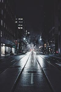 natt, mørk, uteliv, byen om natten, Urban, folk, Street lys