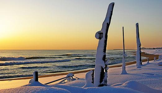 Gangneung, paplūdimys, Gamta, žiemą, smėlio, kraštovaizdžio, saulėtekio