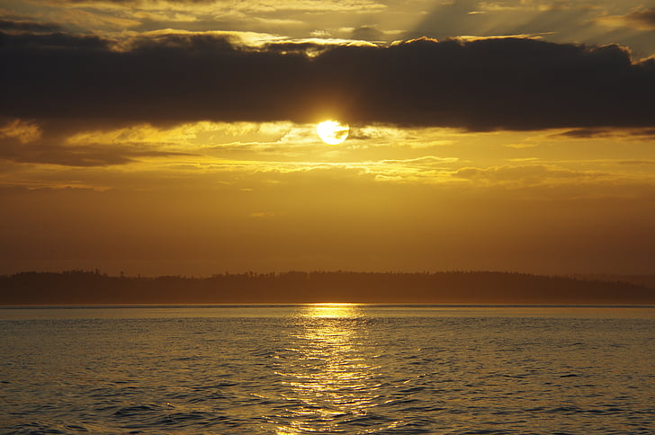Ανατολή ηλίου, θολό Ανατολή του ηλίου, Golden sunrise, Χρυσός Ήλιος, νερό