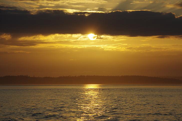 soluppgång, grumlig soluppgång, Golden sunrise, Golden sun, vatten
