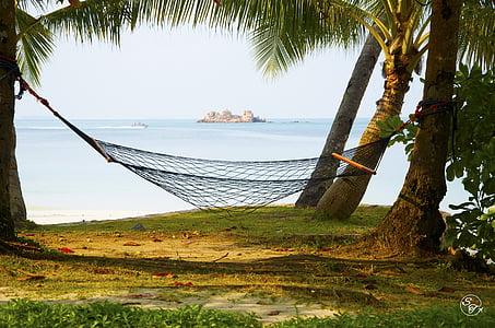 hamac, plajă, mare, vacanta, ocean, vara, Resort