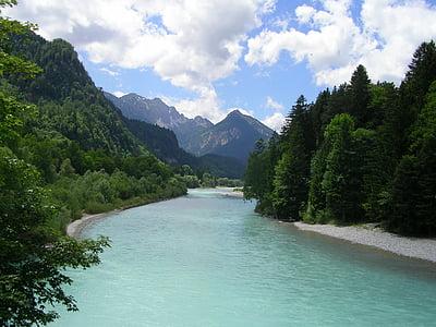 Füssen, Allgäu, folyó, hegyek, Lech